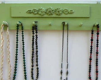 NECKLACE HOLDER Jewelry Organizer And Display Light Green Shabby Chic