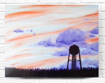 Sunset Painting, Landscape Painting, Sunset Art, Country Painting, Sunset Wall Art, Sunrise Painting, Sky Painting, Water Tower, 16x20