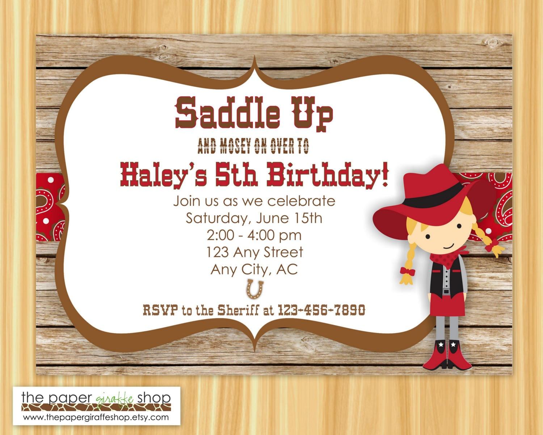 Cowgirl Invitation Cowboy Birthday Cowgirl Birthday Party
