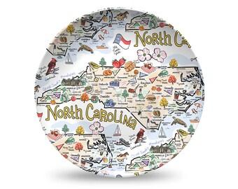 North Carolina Plate, North Carolina Plastic Plate, North Carolina State Map Plastic Plate - High End Plastic