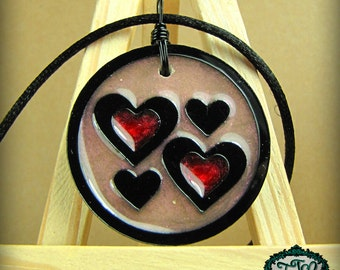 Colorful Quad Hearts Resin and Acrylic OOAK Necklace in Pink and Red