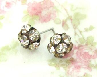 Vintage Glass Rhinestone Cluster Post Earrings
