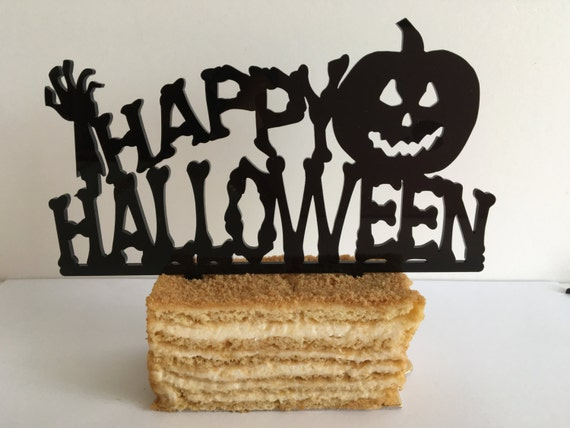 Halloween cake topper Halloween decoration Happy Halloween sign Pumpkin Zombie cupcake Holiday party supplies Party favors Table centerpiece
