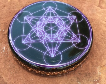 Lg Orgone ASG charging disc with Metatron's Cube, Rhodizite, Kyanite and Shungite 4.5 inches in diameter, 1 in. thick