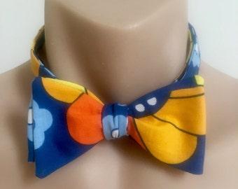 Bow Tie // 70's // Floral // Blue // Orange // Yellow // Happy // Retro // Mens // Accessory // Clip on // Adjustable // Self tie