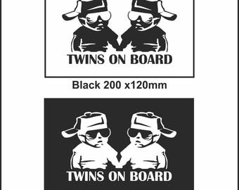 Twins On Board Baby Child Window Bumper Car Sign Decal Sticker Chap On Board