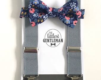 boys navy and blush floral bow tie and suspenders set , baby boy navy suspenders, suspenders, ring bearer outfit, page boy, braces, boys