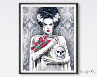 The Bride - Gothic - Illustration - Art Print - Fan Art - The Bride - Horror - Monster - Noir