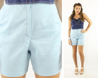 Vintage 60s High Waisted Shorts Light Blue Cotton 1950s Medium M Pinup Rockabilly