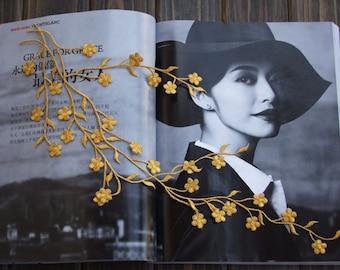 Gold Embroidery Plum flower Venice Lace Appliques Wedding Decor Bridal Headwear Alencon Lace Patch 1pc YL081
