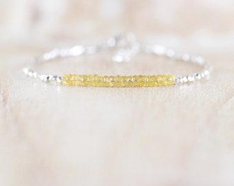 Padparadscha Sapphire, Sterling & Karen Hill Tribe Silver Bracelet. Dainty Yellow Gemstone Beaded Stacking Bracelet. Delicate Fine Jewelry