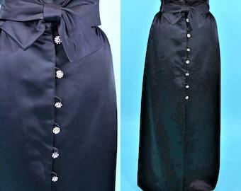 "1960s maxi skirt | black satin bow waist rhinestone button formal skirt | vintage 60s skirt | W 28"""