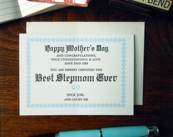 letterpress happy mother's day best stepmom ever certificate greeting card light blue & black ink