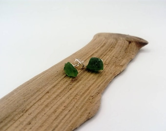 sea glass stud earings