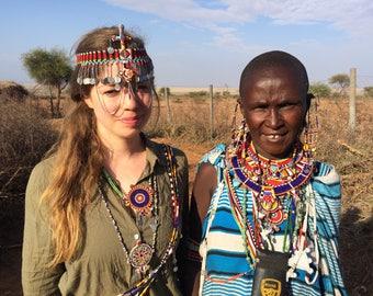 Headdress wedding  Marriage Jewelry Maasai Masai jewellery authentic handmade fair trade charity African tribal Kenya big bright gift