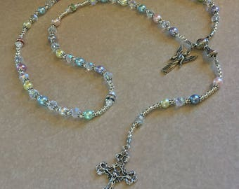 Gorgeous Girls Pastel Pearls/Crystal Rosary for Baptism/First Communion/Confirmation/Wedding- Can be Personalized