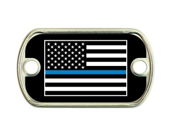 Thin Blue Line American Flag 2 Holes Stainless Steel Mini Dog Tag For Paracord Bracelets