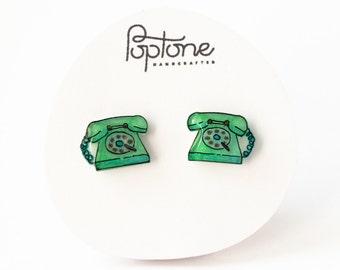 Retro Phone Seafoam Green Earrings, Vintage Telephone Studs, Mint green rotary phone earrings, kitsch