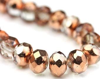 Czech Glass Beads Fire Polished Gemstone Donuts 9x6mm Copper Crystal (12) CZF706