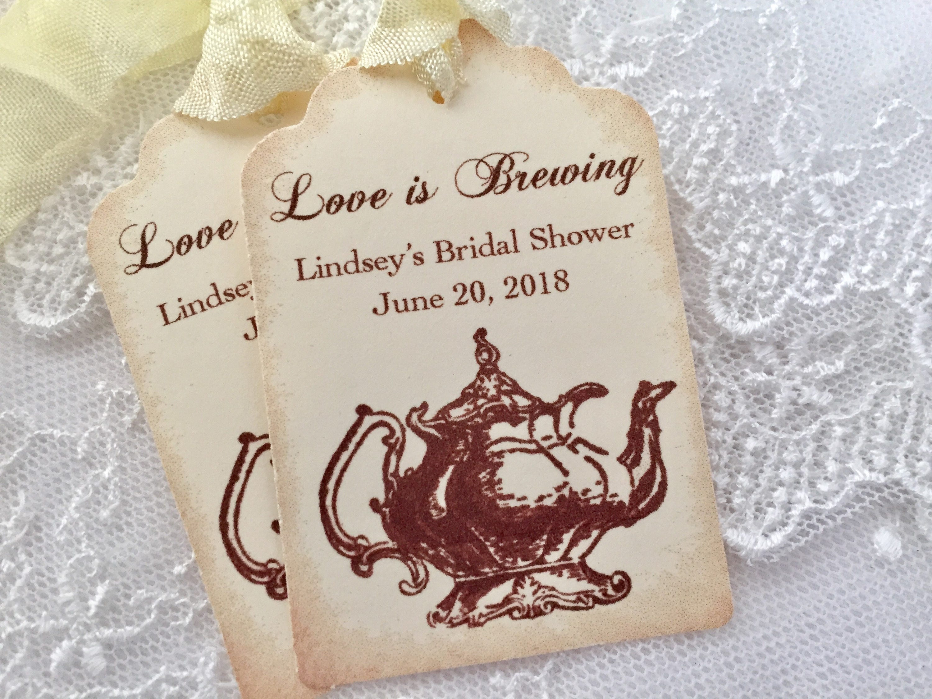 Tea Party Tags Teapot Favor Tags Love is Brewing Tags