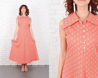 Vintage 70s Red + White Mod Dress Shirtdress A Line Sleeveless Small S 10216