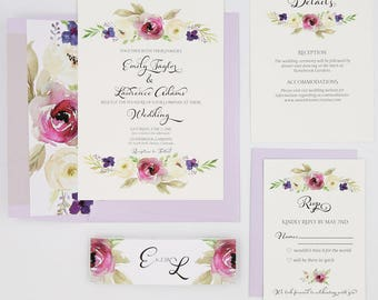 Lavender Wedding Invitations - Purple - Wedding Invitations - Purple and Cream Blooms Collection