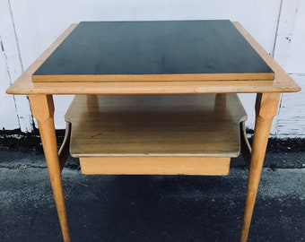 50s Blonde Wood & Black Formica End Table Nightstand with Double Shelf and Sliding Drawer