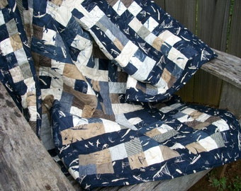 """Nautical Lap Quilt Throw Quilt """"By the Sea"""" Beach House Quilted Navy Blue Indigo Quiltsy Handmade More Hearty Good Wishes FREE U.S. Shipping"""