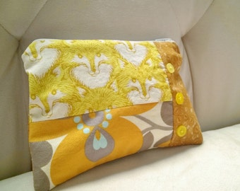 zippered pouch - fox fabric case with yellow button accents - yellow and orange patchwork pouch - button fabric case - juniper pouch