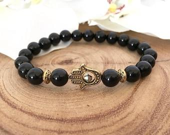 Black Onyx Gold Hamsa Bracelet