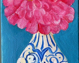 Zinnia mini acrylic painting canvas art, blue and white vase, Original little canvas, 3 x 5, easel, small painting, mini canvas painting