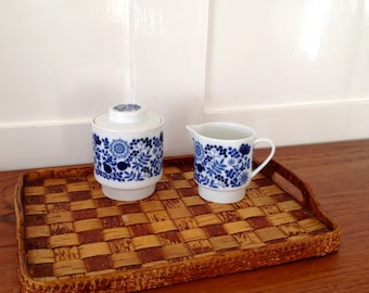 GERMANY  MELITTA 20-17 Germany / Cream pitcher / jug /  and Sugar Bowl  / Blue and White / Flowers / 60s
