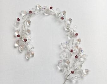 Bridal Hair Jewelry Beaded Branch vine festive bride hair style