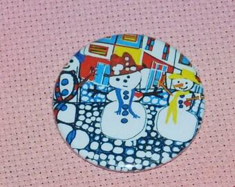 CLEARANCE, Seconds stock, Snowman Needle Minder, Cross Stitch Keeper, Dora Ficher Art, Fridge Magnet, Pin Holder