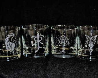 The Lord of the Rings Rocks Glass Set Gift Sand Blasted  by Jackglass on Etsy