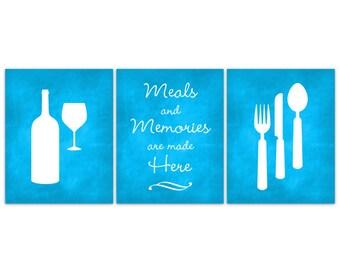 Home Decor Wall Art, Chalkboard Kitchen Art, Fork and Spoon Wall Decor, Wine Glass Art, Blue Chalkboard Art Print, Kitchen CANVAS - HOME101