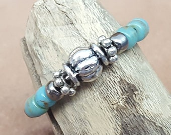 Turquoise Silver Beaded Memory Wire Ring-Adjustable Ring-Picasso Turquoise Blue (PTB)