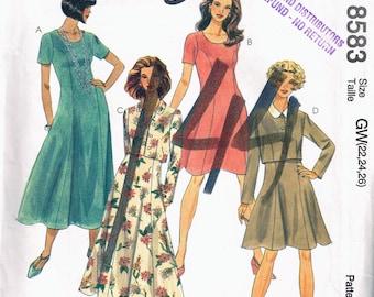 Size 22-26 Misses Easy Plus Size Dress - Scoop Neck Princess Seam Dress - Knee Length Dress - Cropped Jacket Pattern  - McCalls 8583