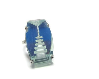ORDECO Intaglio Pagoda Ring/ Reverse Carved Buddhist Tower Rock Crystal Ring/Blue Glass Asian Stupa Silver Ring Sz 6.5/ Oriental Vihara Ring