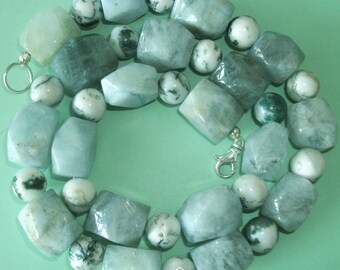 Gemstone Jewelry Necklace - Aquamarine and Tree Agate Gemstone Beaded Necklace