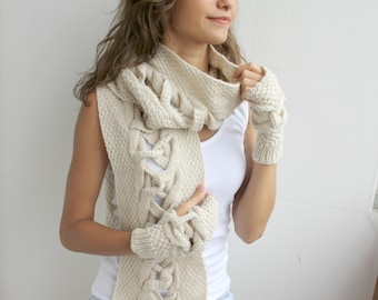 Beige Wool Scarf And Mittens Warm set Special Design By DenizGunes / Christmas gift / Outdoors Gift / Under Usd 100