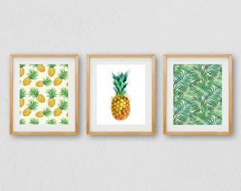 Pineapple Print, Pineapple Wall Art, Pineapple PRINTABLE, Pineapple Decor, Leaf Print, Leaf Wall Art, Palm Leaf Print, Watercolor Art Print