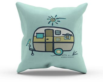 "Aqua Green Camper Pillow, Decorative Throw Pillow, Indoor Outdoor Cushion, RV Retro Vintage Airstream, Camping Decor, Glamping, 18"" 45cm"