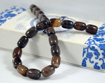 Barrel bead Coffee Color Agate Beads ----- 12mm x16mm ----- 25Beads, Agate beads