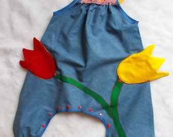 """Made in France. Girl overalls. """"The little planter.."""". Unique piece"""
