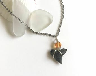 Micro Shark Tooth Necklace // Citrus Crystal Accents // Real Shark Teeth // Shark Tooth Pendant // Layering Necklace