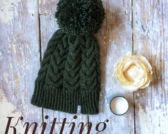 knitting pattern, ladies, teens, cable design, beanie, slouch, ski hat, with pom pom, pdf, digital download, instant download