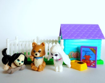 Vintage Littlest Pet Shop Puppy Pals with Playhouse Playset by Kenner 1992 Retro 90s Toy