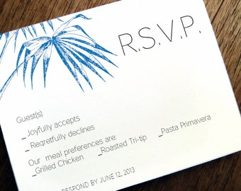 Printable RSVP Card - Response Card Download - Instant Download - RSVP Template - Response Card - Blue Palm rsvp card - Navy Palm Frond PDF