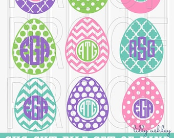 Monogram SVG Files Set of 9 cutting files SVG/PNG/jpg format Commercial use ok Easter svg eggs for monograms {colors/monograms not included}